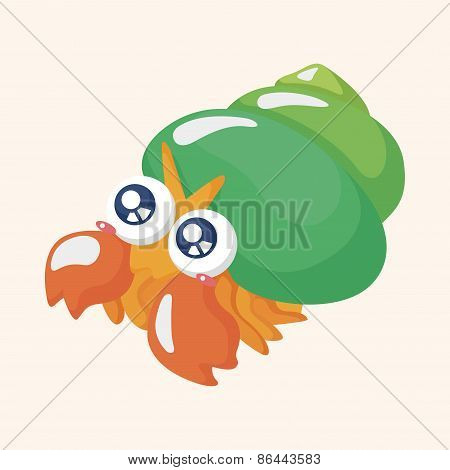 Sea Animal Hermit Crab Cartoon Theme Elements