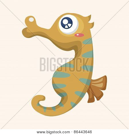 Sea Animal Hippocampus Cartoon Theme Elements