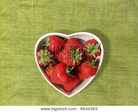 Strawberries In A Heart Shaped Bowl