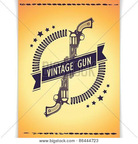 Vintage poster with two guns