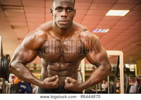 Handsome Black Male Bodybuilder Posing In Gym