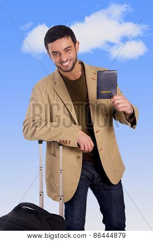 Attractive Traveler Man Leaning On Luggage Case Holding Passport Smiling Happy And Confident