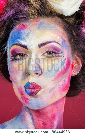 The creative, bright, color makeup.