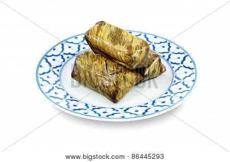 Steamed sticky rice with banana or Khao Tom Mad