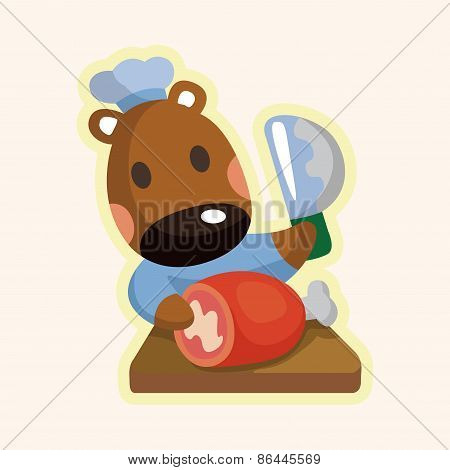 Animal Horse Chef Cartoon Theme Elements