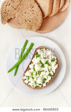 Sandwich With Curd Cheese And Green Onion