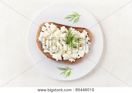 Bread With Curd Cheese, Top View