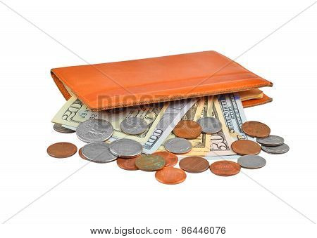 Dollar banknotes and coins in wallet