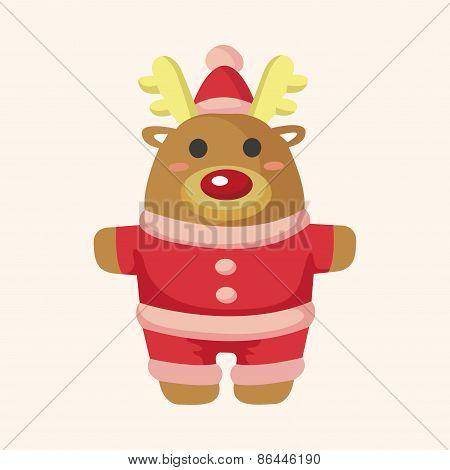 Animal Moose Cartoon Christmas Style Theme Elements
