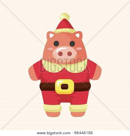 Animal Pig Cartoon Christmas Style Theme Elements