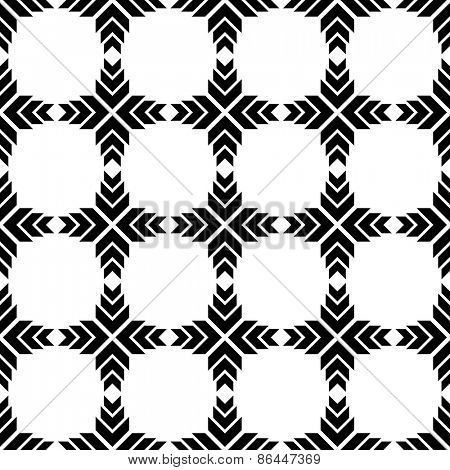Seamless Geometric Pattern. Vector Black and White Background. Regular Texture