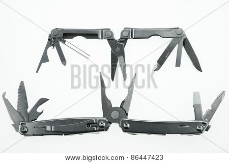 Pocket knife or Steel multi-function tools isolated on white background. Hand tools in industry jobs