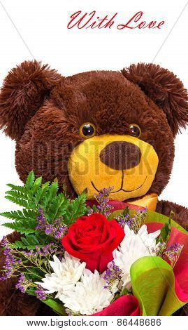 Funny Smiling Teddy Bear With A Bouquet Of Flowers