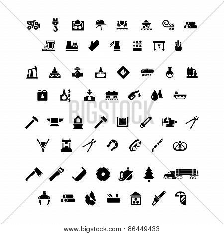 Set Icons Of Industry. Metallurgical, Oil, Forge And Sawmill Icons