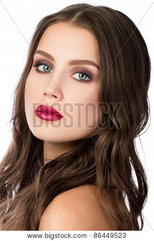 Beauty portrait of young brunette woman