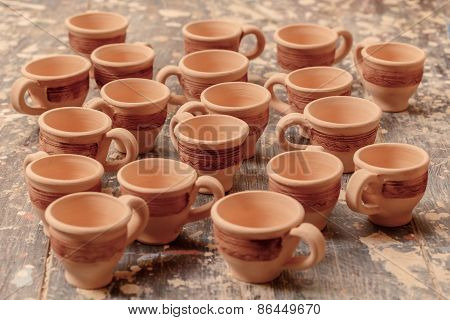 Range of clay pottery