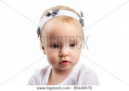 Little Girl Looking Sideways (isolated On White)