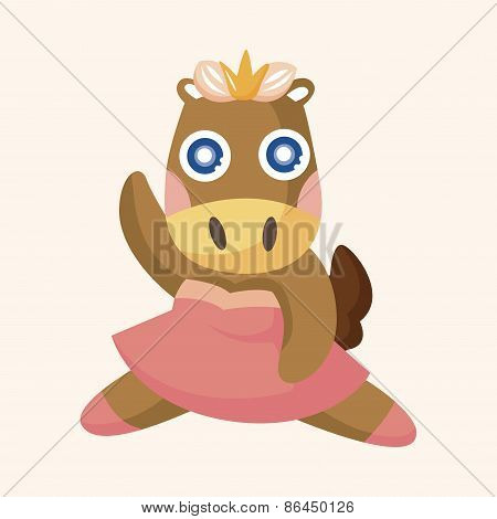 Animal Horse Dancing Cartoon Theme Elements