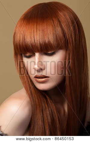 Red Haired Girl Looking Down Portrait