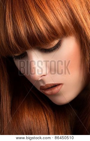 Beautiful Red Haired Girl Looking Down Portrait