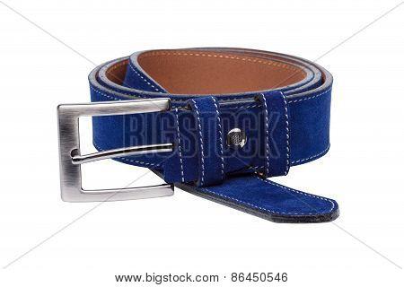 Blue Men Leather Belt Isolated On White Background