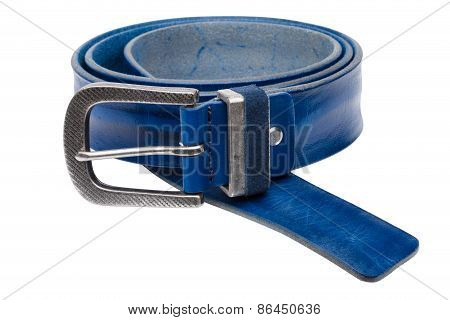 Blue Men Leather Belt Isolated On White Background