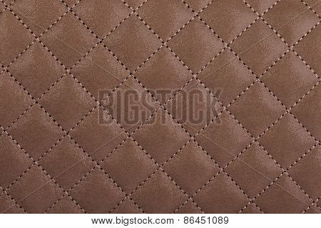 Light Borwn Quilted Leather Close-up