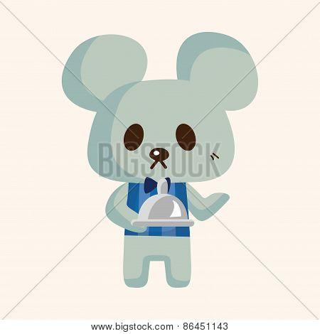 Animal Mouse Waiter Cartoon Theme Elements