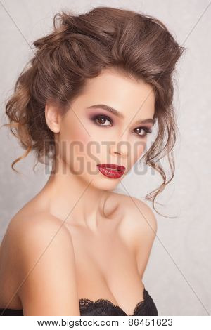 Sexy and fashion Woman with red lips and fashion hairsyle