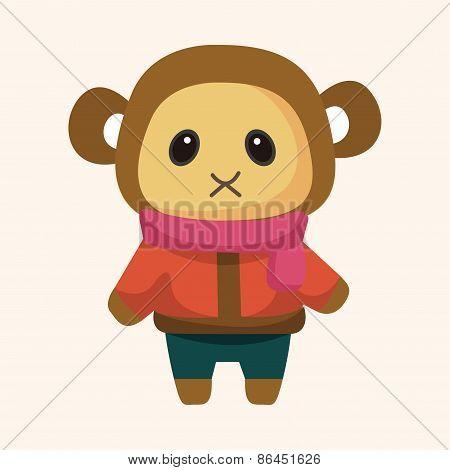 Animal Monkey Winter Cartoon Theme Elements