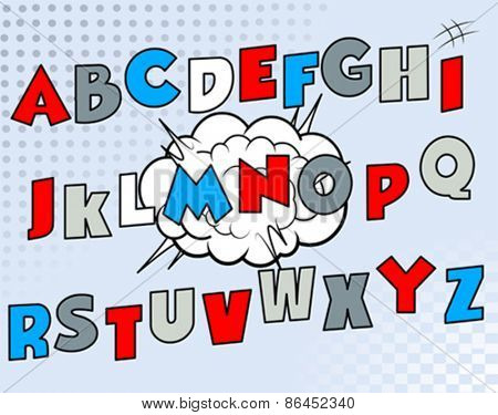 Set of letters in cartoon font