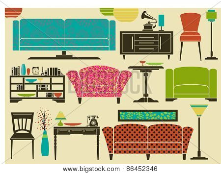 Retro Furniture and Home Accessories - Set of furniture and home decoration, including sofa, love seat, armchairs, side tables, floor lamps and chandeliers