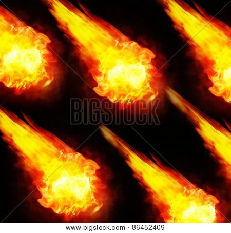 balls of fire, fireballs on black background