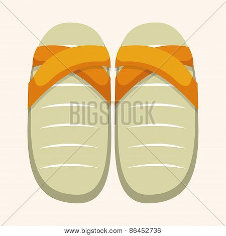 Beach Equipment Flip Flop Theme Elements