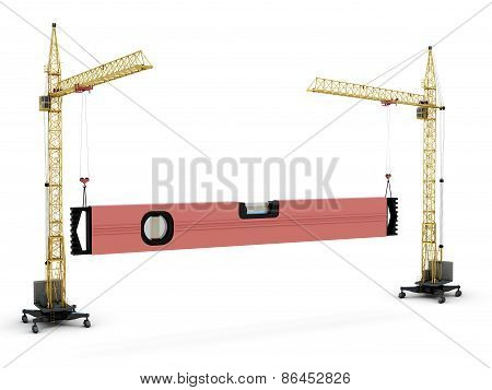 The Conceptual Image - Two Construction Cranes Raise Construction Level