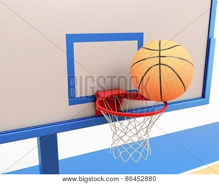 Basketball Ball On The Ring Close-up