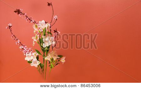 Ikebana Flower Arrangement With Copy Space