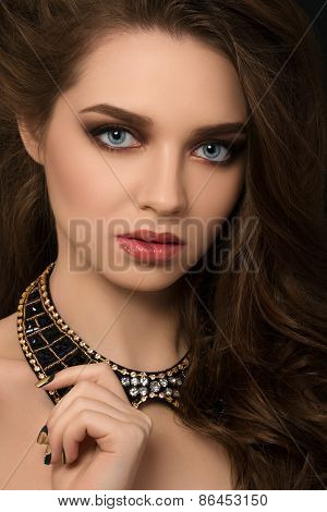 Portrait Of Young Brunette Beautiful Woman