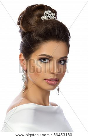 Portrait Of Young Beautiful Woman Wearing White Dress