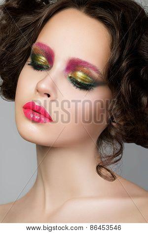 Beauty Portrait Of Young Brunette Model With Liquid Latex Makeup