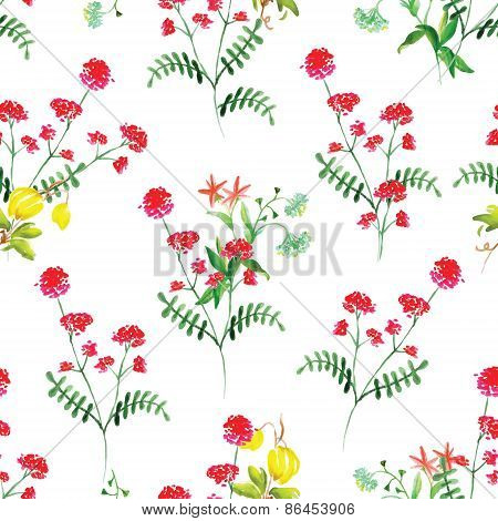 Summer Flowers Watercolor Seamless Vector Pattern