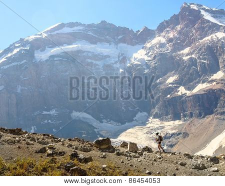 Man trekking in hight mountain