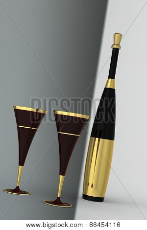 Champan Flute With Bottle With Gold Label And Cork On A Monotone Background.