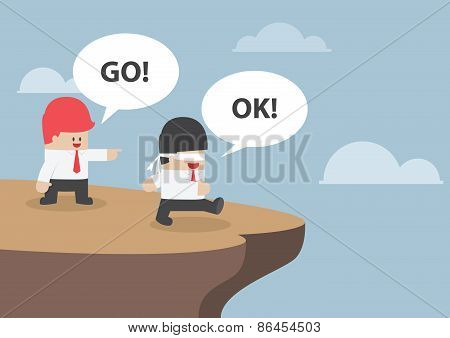 Businessman Navigate His Blindfolded Friend To The Cliff