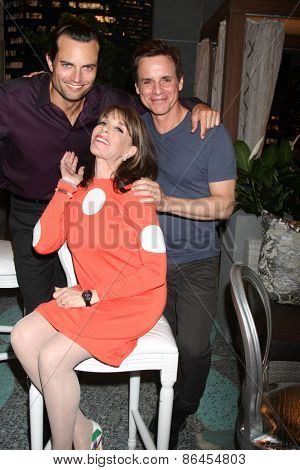 LOS ANGELES - MAR 26:  Scott Elrod, Kate Linder, Christian LeBlanc at the Young & Restless 42nd Anniversary Celebration at the CBS Television City on March 26, 2015 in Los Angeles, CA