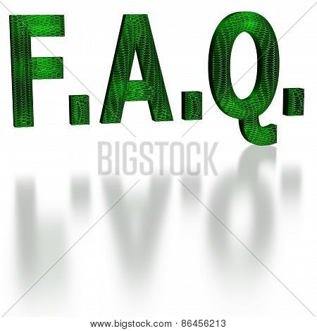 Green Faq Word In 3D