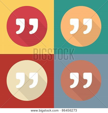 Quote vector icons isolated on colorful backgrounds.