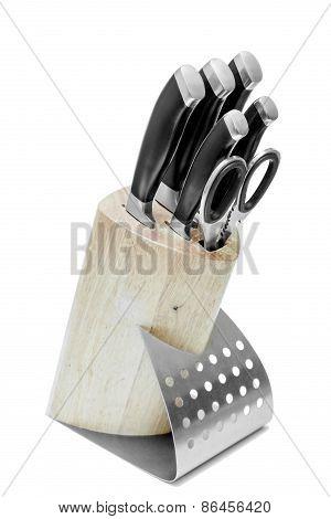 Knife Block, Isolated On White Background.