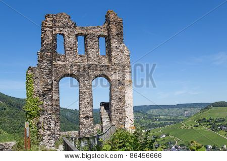 Ruin Of Castle Grevenburg Near Traben-trarbach Along German River Moselle