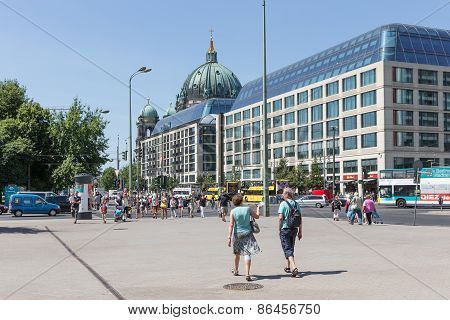 Tourists Walking In In The Karl Liebknecht Strasse Near The Berliner Dom In Berlin, Germany